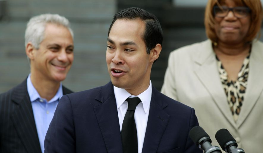 Housing and Urban Development Secretary Julian Castro announces a policy change at a news conference in this July 8, 2015, file photo in Chicago. (AP Photo/Christian K. Lee)