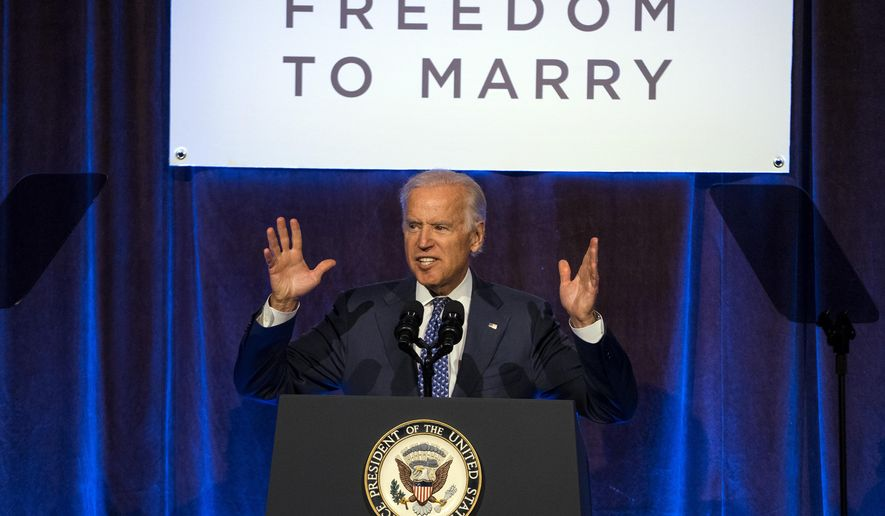 Vice President Joe Biden addresses a Freedom To Marry event in New York Thursday, July 9, 2015. (AP Photo/Craig Ruttle)