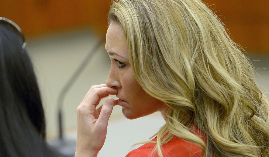 FILE - In this Jan. 15, 2015, file photo, Brianne Altice listens to the testimony during a preliminary hearing in 2nd District Court in Farmington, Utah. Altice, a former Utah high school English teacher who pleaded guilty to having sexual relations with three male students, is set to be sentenced Thursday, July 9, 2015. (Leah Hogsten/The Salt Lake Tribune via AP, Pool, File)