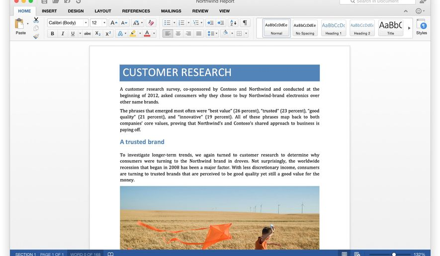 This product image provided by Microsoft shows Microsoft Word for Mac, part of the new Microsoft Office 2016 Mac suite. (Microsoft via AP)