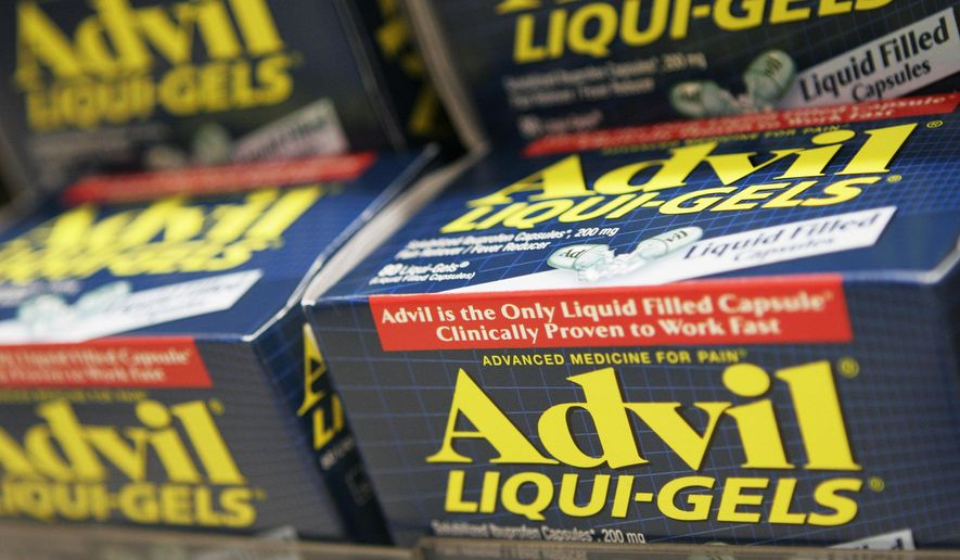 FILE - This Oct. 5, 2006 file photo shows boxes of Advil Liqui-gels on a store shelf in New York. The Food and Drug Administration on Thursday, July 9, 2015 announced it is bolstering warning labels on popular pain relievers like Advil and Aleve, adding new information about their risks of heart attack and stroke. (AP Photo/Mark Lennihan, File)