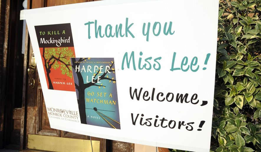 "This photo taken Wednesday, July 8, 2015, shows a sign welcoming book fans to Monroeville, Ala., the hometown of ""To Kill a Mockingbird"" author Harper Lee. Lee's second book ""Go Set a Watchman"" is set for release July 14, 2015, and town officials are hoping the new novel draws more visitors to the quiet town of 6,300 people. (AP Photo/Jay Reeves)"
