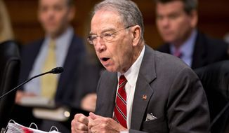 Sen. Chuck Grassley, R-Iowa, the ranking Republican on the Senate Judiciary Committee, speaks at a hearing on Capitol Hill in Washington, in this May 20, 2013, file photo. (Associated Press) ** FILE **