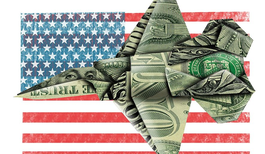 Illustration on the costs of the F-35 fighter plane by Linas Garsys/The Washington Times