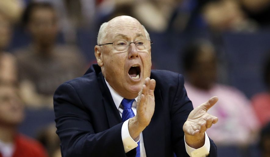 Washington Mystics head coach Mike Thibault directs his team during the first half of a WNBA basketball game against the Chicago Sky, Sunday, June 28, 2015 in Washington. The Mystics won 86-71. (AP Photo/Alex Brandon)