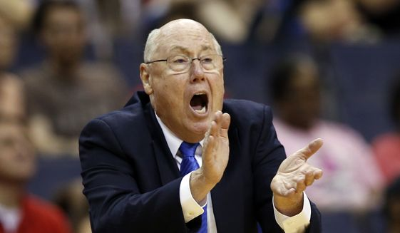 Washington Mystics head coach Mike Thibault directs his team during the first half of a WNBA basketball game against the Chicago Sky, Sunday, June 28, 2015 in Washington. The Mystics won 86-71. (AP Photo/Alex Brandon) ** FILE **