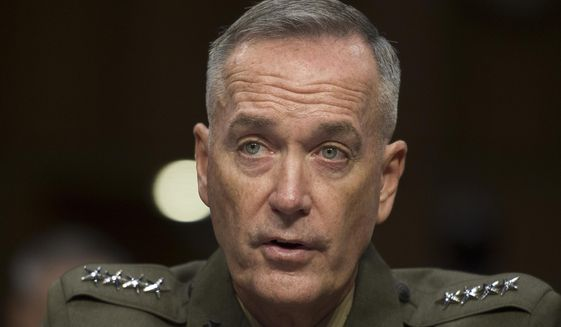 Marine Corps Commandant Gen. Joseph Dunford, Jr., testifies during his Senate Armed Services Committee confirmation hearing to become the Chairman of the Joint Chiefs of Staff, on Capitol Hill in Washington, Thursday, July 9, 2015. (AP Photo/Cliff Owen)