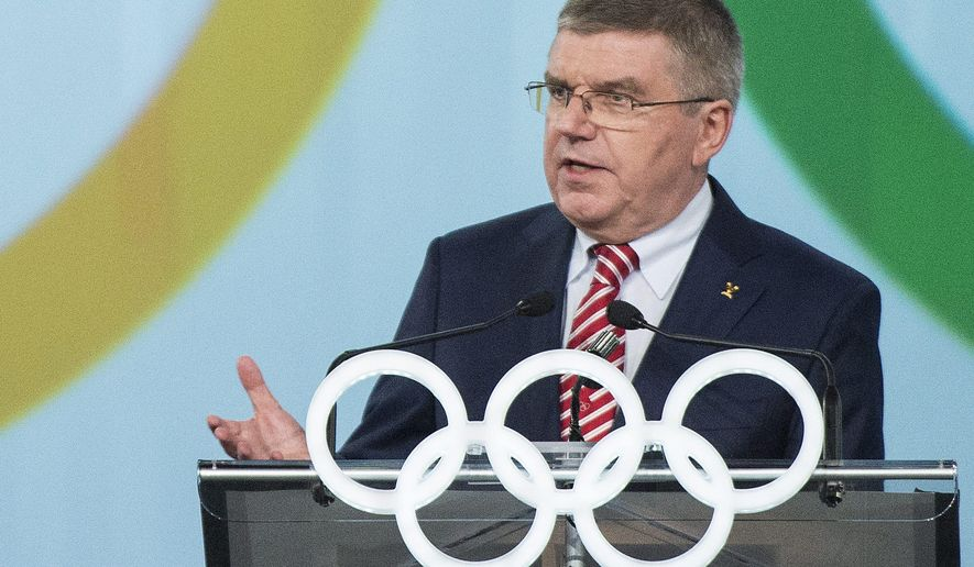 International Olympic Committee President Thomas Bach speaks during a World Sport Luncheon on Canada Olympic Excellence Day in Montreal, Thursday, July 9, 2015. (Graham Hughes/The Canadian Press via AP)