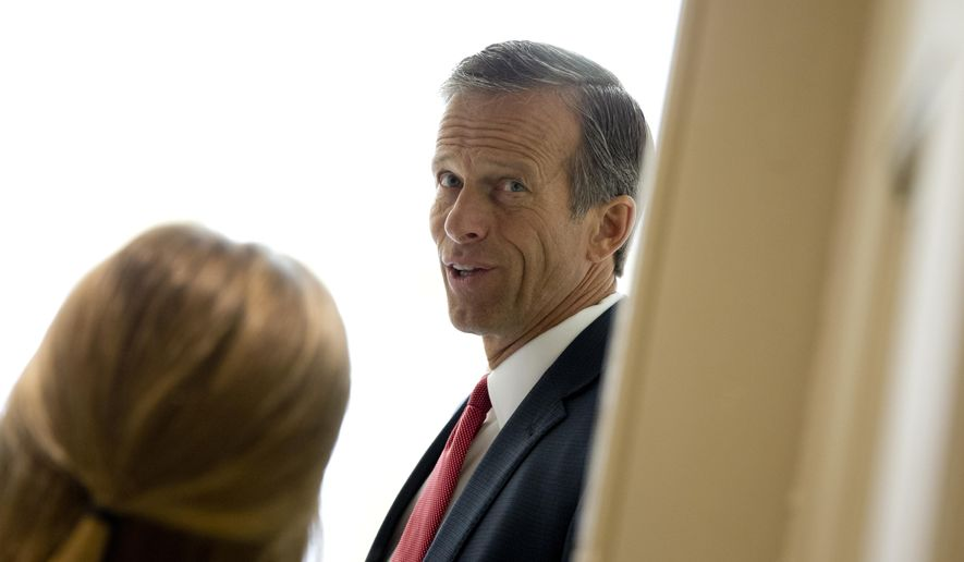 Sen. John Thune, R-S.D., stops to talk to media as he walks to a policy luncheon on Capitol Hill in Washington, Wednesday, July 8, 2015. (AP Photo/Carolyn Kaster)