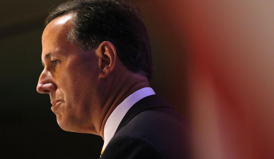 Republican presidential candidate and former Pennsylvania Sen. Rick Santorum speaks during the National Right to Life convention in New Orleans on July 10, 2015. (Associated Press) **FILE**