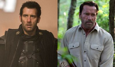 """Clive Owen co-stars in """"Last Knights"""" and Arnold Schwarzenegger co-stars in """"Maggie."""" Both movies are now available on Blu-ray. (Courtesy Lionsgate Home Entertainment)"""