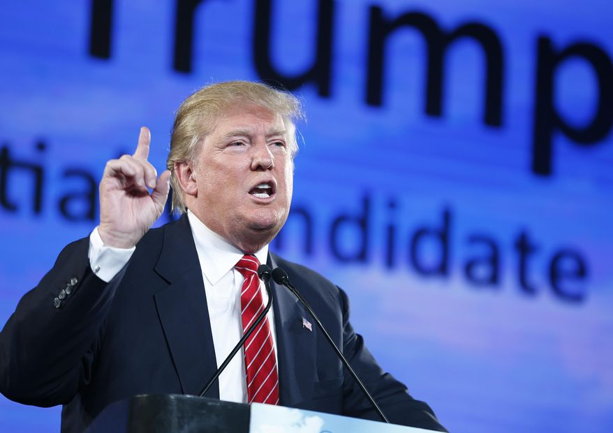 Republican presidential candidate Donald Trump speaks at FreedomFest in Las Vegas on July 11, 2015. (Associated Press) **FILE**
