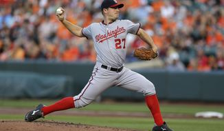 Washington Nationals starting pitcher Jordan Zimmermann throws to the Baltimore Orioles in the first inning of an interleague baseball game, Saturday, July 11, 2015, in Baltimore. (AP Photo/Patrick Semansky)