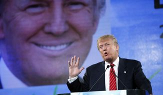 Republican presidential candidate Donald Trump speaks at FreedomFest, Saturday, July 11, 2015, in Las Vegas. Trump said his comments about immigration have become a movement and has pointed to violence perpetrated by immigrants in the U.S. illegally to defend his stance. (AP Photo/John Locher)