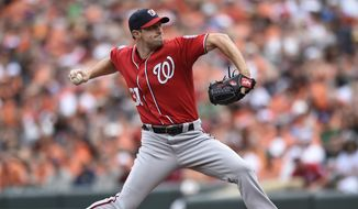 Washington Nationals pitcher Max Scherzer delivers against the Baltimore Orioles in the first inning of a baseball game Sunday, July 12, 2015, in Baltimore. (AP Photo/Gail Burton)
