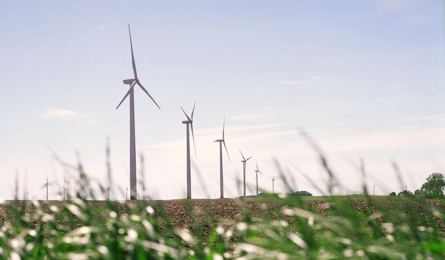 This undated photo made available by Iberdrola Renewables LLC shows wind turbines on a corn and soybean farm in Trimont, Minn. The company will be building a similar commercial-scale wind energy farm near the coast community of Elizabeth City, N.C. (Iberdrola Renewables LLC via AP)
