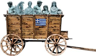 Illustration on the state of the Greek economy by Greg Groesch/ The Washington Times