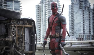 "This photo provided by Twentieth Century Fox shows Ryan Reynolds in ""Deadpool."" (Associated Press)"