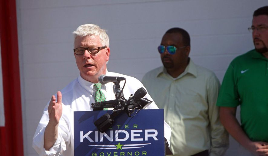 Lt. Gov. Peter Kinder announces his bid for governor in the parking lot of New York Grill  Sunday, July 12, 2015, in St. Louis. (Cristina M. Fletes/St. Louis Post-Dispatch via AP)