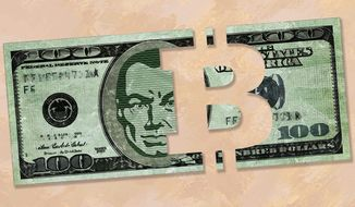 Bitcoin Bites Big Brother Illustration by Greg Groesch/The Washington Times