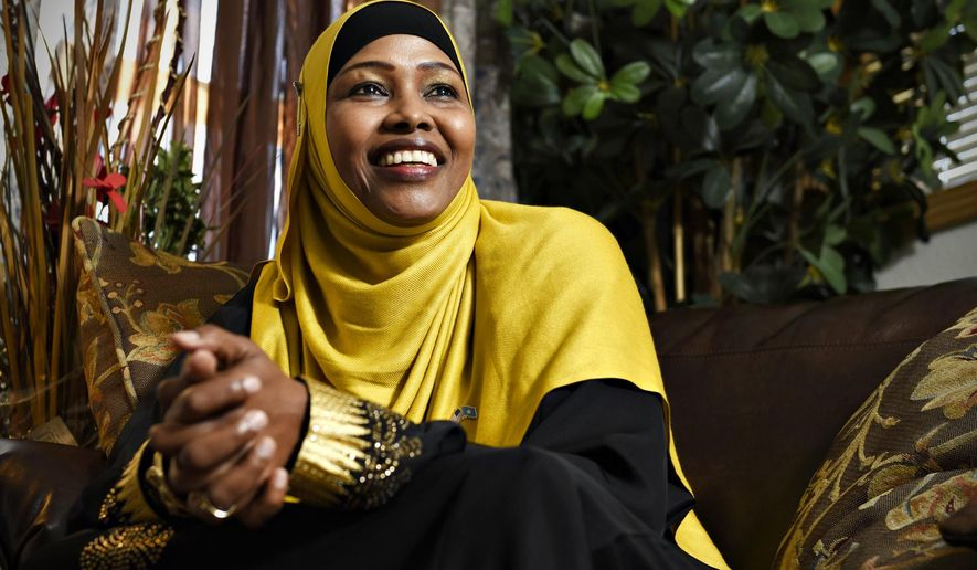 In a Friday, May 22, 2015 photo, St. Cloud, Minn., resident Anab Dahir talks about her plans to run for president of Somalia in 2016. Dahir, a medical clinic interpreter who has lived in St. Cloud since 2008, says her native country needs people like her. She's already spreading the word among friends, family and colleagues in anticipation of the elections next year.  (Jason Wachter/St. Cloud Times via AP)
