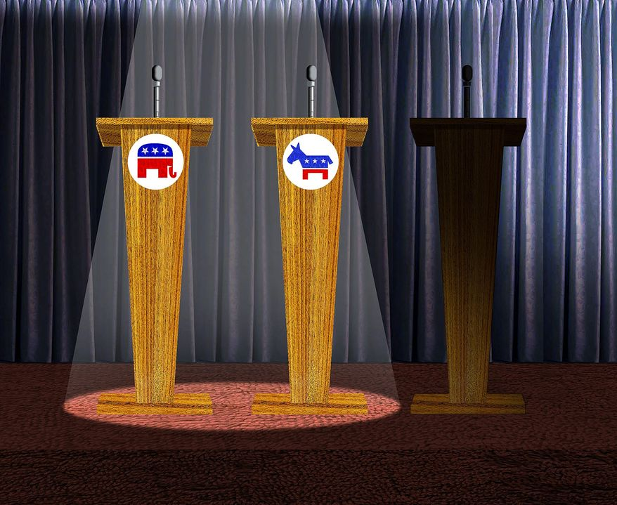 Illustration on breaking two party domination of presidential debates by Alexander Hunter/The Washington Times