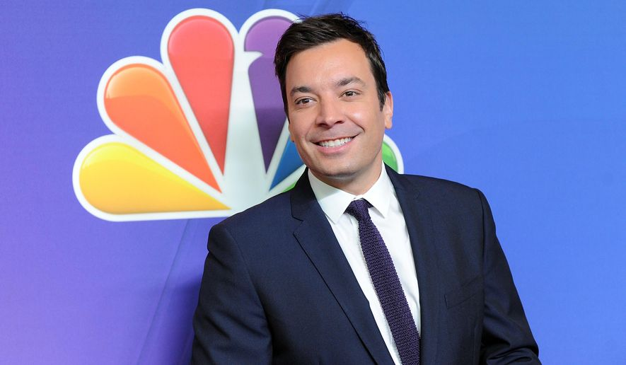 FILE - In this May 12, 2014 file photo, The Tonight Show host Jimmy Fallon attends the NBC Network 2014 Upfront presentation at the Javits Center in New York. Fallon spent 10 days in a hospital intensive care unit after tripping in his kitchen and injuring a finger so badly it required six hours of microsurgery to save. The comic was back at work Monday, July 13, 2015,  for the first time following the June 26 accident in his New York home. (Photo by Evan Agostini/Invision/AP)