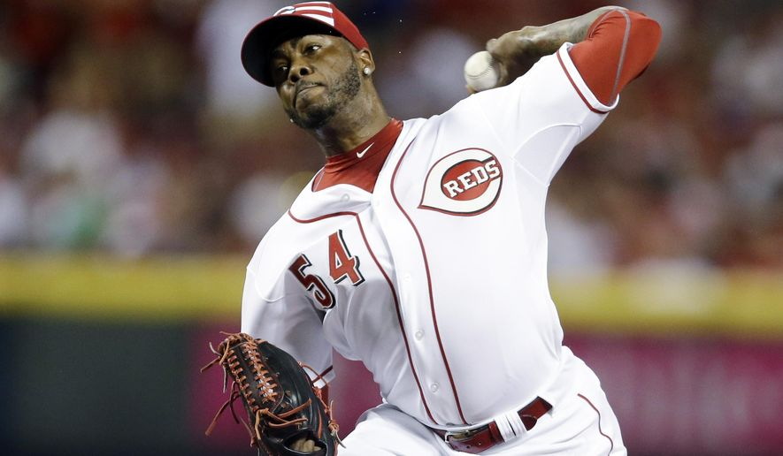 National League's Aroldis Chapman, of the Cincinnati Reds, throws during the ninth inning of the MLB All-Star baseball game, Tuesday, July 14, 2015, in Cincinnati. (AP Photo/Jeff Roberson)