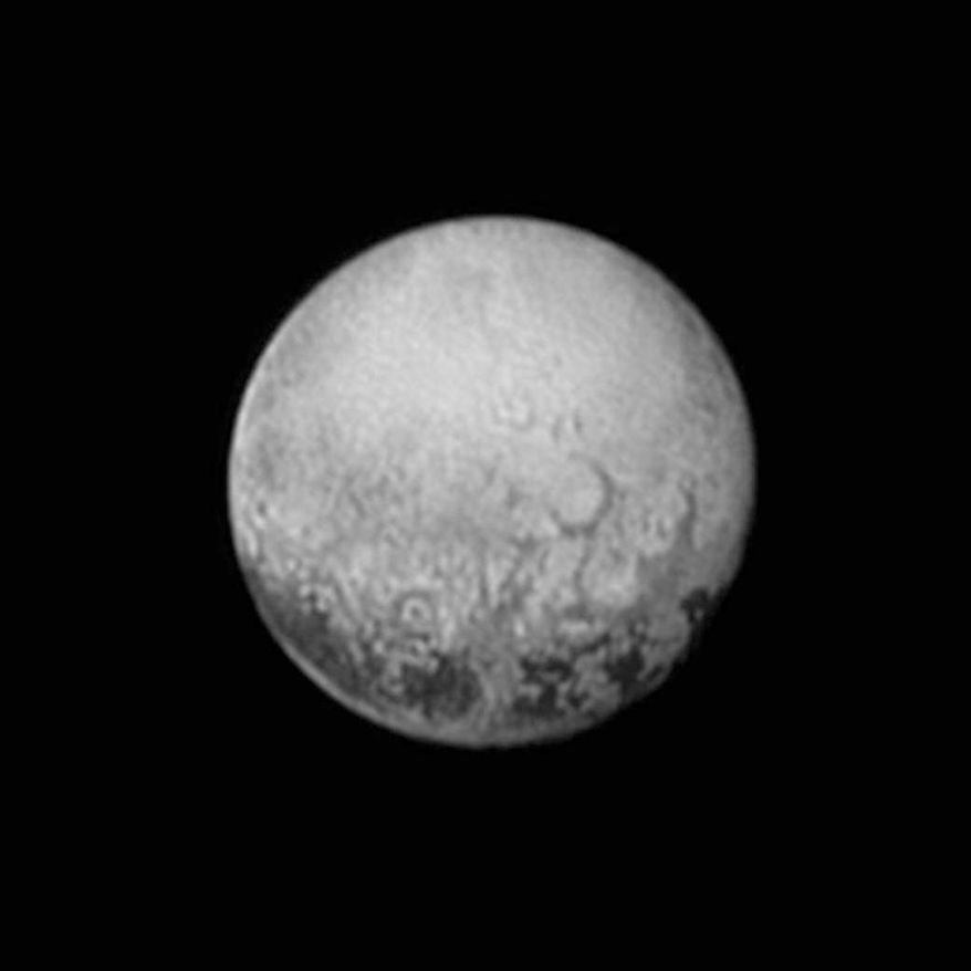This July 11, 2015, image provided by NASA shows Pluto from the New Horizons spacecraft. On Tuesday, July 14, NASA's New Horizons spacecraft will come closest to Pluto. New Horizons has traveled 3 billion miles over 9½ years to get to the historic point. (NASA/JHUAPL/SWRI via AP)