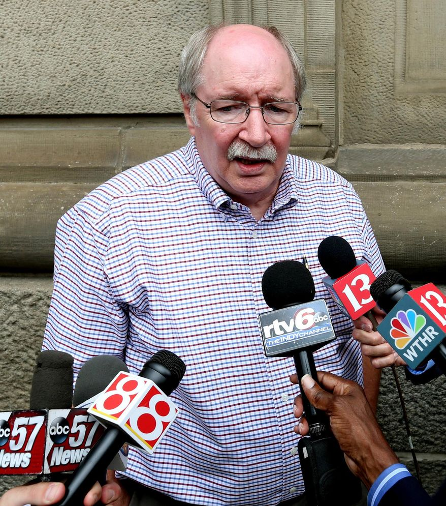 Don Buxton, father of Richmond Hill victim Jennifer Longworth, gives a statement to the media on Tuesday, July 14, 2015, outside the St. Joseph County Courthouse, in South Bend, Ind., after hearing the jury found Mark Leonard guilty of all 53 charges, including murder, that he faced for masterminding a fatal November 2012 explosion in Indianapolis. (Charlie Nye/The Indianapolis Star via AP)
