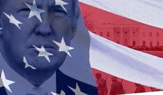 Republican presidential candidate Donald Trump tweeted and promptly deleted a patriotic image of his face next to the White House and soldiers Tuesday, after Twitter users pointed out one glaring issue. The soldiers glorified in the image, complete with illustrations of U.S. money and the U.S. flag, are actually wearing patches of the Waffen SS. (@RealDonaldTrump via The Daily Beast)