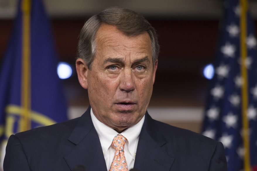 FILE - In this July 9, 2015 file photo House Speaker John Boehner of Ohio, speaks with reporters on Capitol Hill in Washington.  The searing political conflict over abortion flared anew Wednesday as congressional Republicans said they will investigate whether Planned Parenthood is selling organs from aborted fetuses. Boehner called for committees to examine the matter and said President Barack Obama should condemn and end the practice.  (AP Photo/Cliff Owen, File)