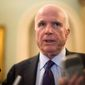 Sen. John McCain, Arizona Republican, expects a defense budget for the Senate by week's end. A presidential veto is expected as the proposed spending plan would increase funding for a war chest (Associated Press)