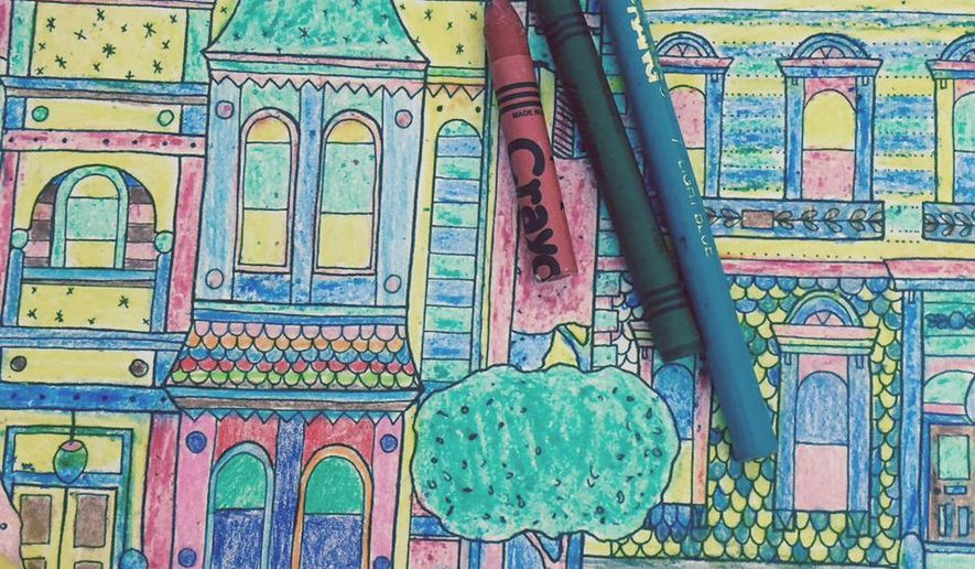 """This June 17, 2015 photo shows a colored-in page from the adult coloring book """"Splendid Cities: Color Your Way to Calm,"""" by Rosie Goodwin and Alice Chadwick, Hachette Livre (Editions Marabout). It's one of dozens of adult coloring books being marketed these days as a way to relieve stress. (Beth J. Harpaz/Little Brown and Company via AP)"""
