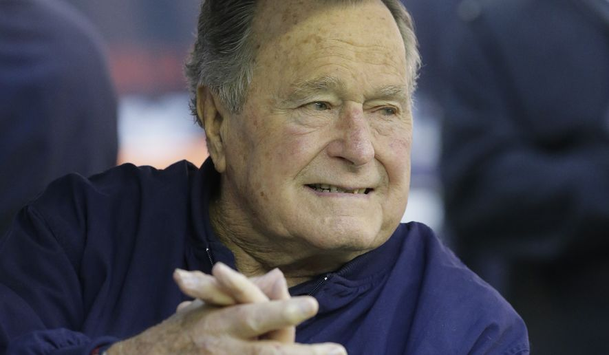 Former President George H.W. Bush has been hospitalized after a fall at his home in Kennebunkport, Maine. (Associated Press)