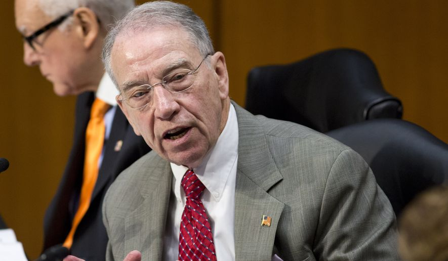 Sen. Charles Grassley, Iowa Republican and Judiciary Committee Chairman (Associated Press) **FILE**