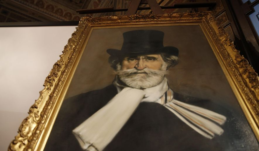 A painting showing the Italian composer Giuseppe Verdi is displayed at the Casa Verdi, in Milan, Italy, Wednesday, July 15, 2015. A home for retired musicians created by composer Giuseppe Verdi has secured of a cache of intimate, joking and sometimes off-color correspondence with an Italian count for the bargain price of 120,000 euros ($132,000). (AP Photo/Luca Bruno)