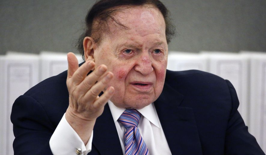 FILE - In this May 4, 2015 file photo, Las Vegas Sands Corp. Chairman and CEO Sheldon Adelson testifies in court in Las Vegas. A Nevada judge is keeping sealed a legal exhibit that a newspaper, a union and a Washington, DC-based advocacy group sought to make public in a closely-watched wrongful termination case against casino company Las Vegas Sands Corp., Sands China Ltd. and the companies' chairman Adelson. (AP Photo/John Locher, File)