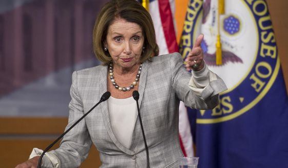House Minority Leader Nancy Pelosi, California Democrat, speaks with reporters on Capitol Hill in Washington on July 9, 2015. (Associated Press)