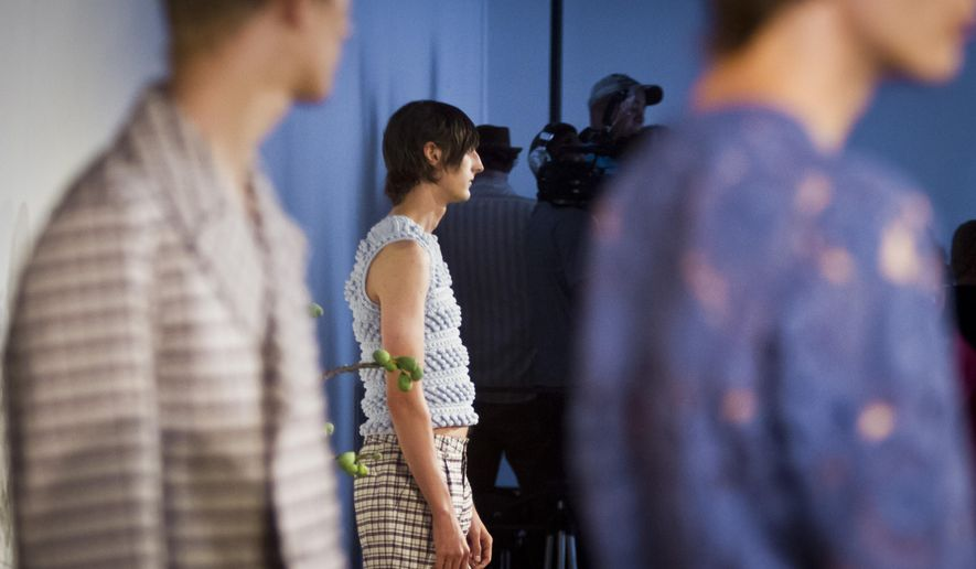 Fashion from Orley is modeled during men's fashion week on Thursday, July 16, 2015, in New York. (AP Photo/Bebeto Matthews)