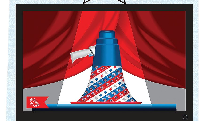 Illustration on the parameters of televised presidential debates by Linas Garsys/The Washington Times