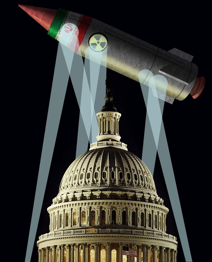 Illustration on Congress' skepticism and opposition to the Iran nuclear arms deal by Alexander Hunter/The Washington Times