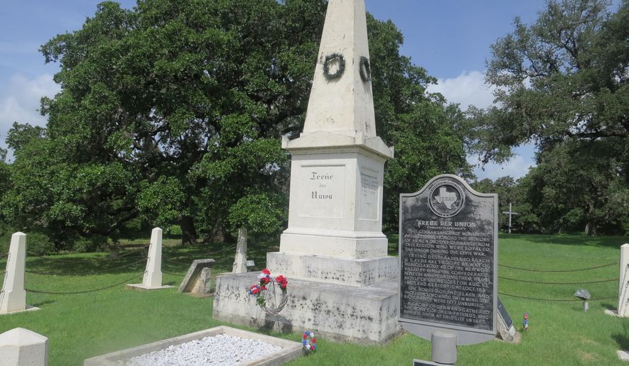 "ADVANCE FOR SATURDAY, JULY 18, 2015 AND THEREAFTER- This July 3, 2015 photo, the ""Treue der Union"" monument which means ""Loyal to the Union"" stands in Comfort, Texas. This is the oldest Civil War memorial in the state.  (Joe Holley/Houston Chronicle via AP)"