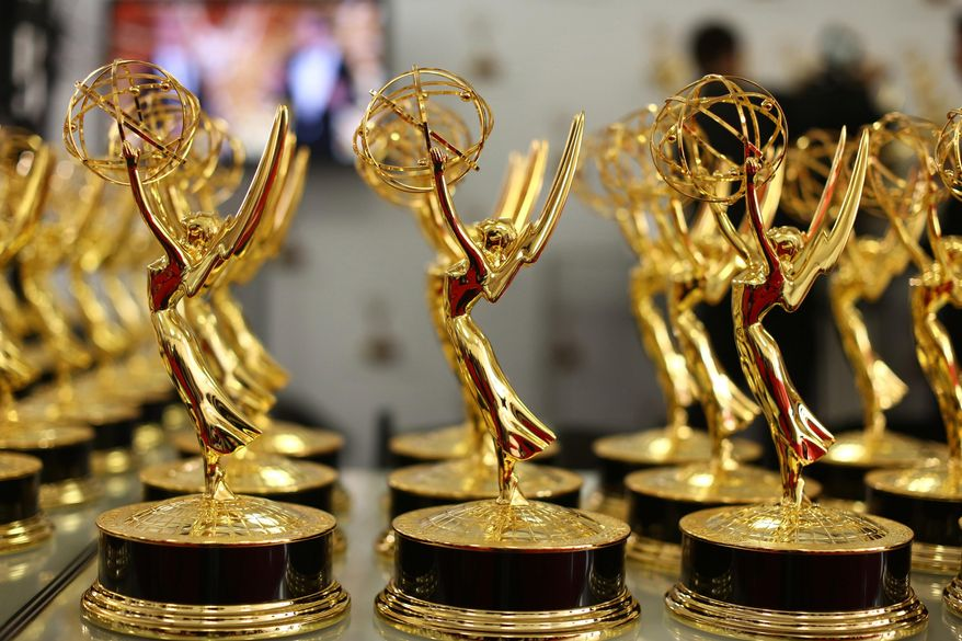 This Sept. 22, 2013, file photo provided by the Academy of Television Arts & Sciences shows a general view at the trophy table at the 65th Primetime Emmy Awards held at Nokia Theatre, in Los Angeles. (Matt Sayles/Academy of Television Arts & Sciences via AP, File)