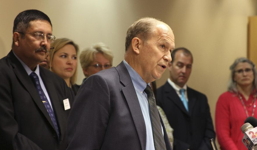 Alaska Gov. Bill Walker speaks at a news conference in Anchorage, Alaska, Thursday, July 16, 2015. Walker announced he intended to accept federal money to expand Medicaid coverage in the state. (AP Photo/Mark Thiessen)