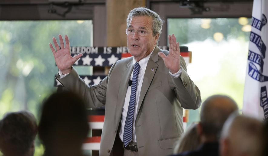 FILE - In this July 13, 2015, file photo, Republican presidential candidate former Florida Gov. Jeb Bush speaks to local residents during the Judge Joseph Story Dinner in Ames, Iowa. Bush is scheduled Thursday, July 16, to visit a startup as part of a fundraising swing through the San Francisco Bay Area.  (AP Photo/Charlie Neibergall, File)