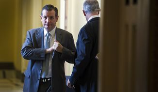 Sen. Ted Cruz, R-Texas,  leaves a policy luncheon at the U.S. Capitol in Washington, Tuesday, June 23, 2015. The Senate pushed bipartisan trade legislation to the brink of final approval Tuesday in a combined effort by President Barack Obama and Republican congressional leaders to rescue a measure that appeared all but dead less than two weeks ago. (AP Photo/Cliff Owen)