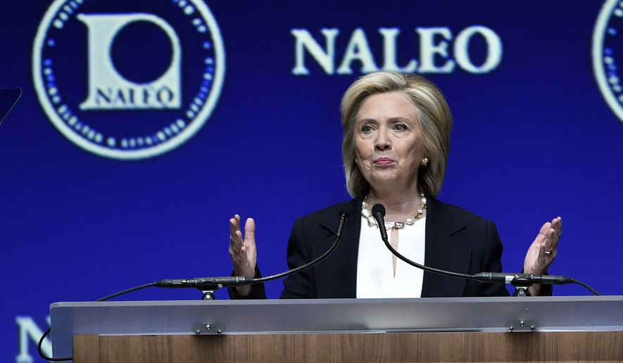 Democratic presidential candidate Hillary Rodham Clinton speaks at the National Association of Latino Elected and Appointed Officials in Las Vegas on June 18, 2015. (Associated Press) **FILE**