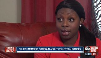 "Candace Petterson is outraged after she says she received a collection notice in the mail from her Tampa, Florida, church ordering her to pay $1,000 in order to be considered a ""member in good standing."" (ABC Action News)"