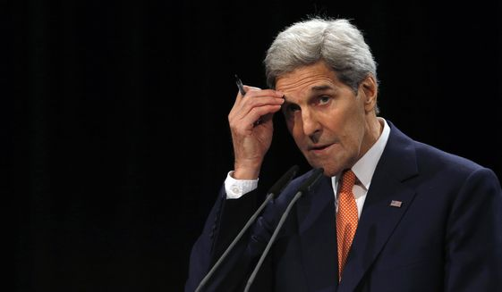 "Secretary of State John F. Kerry insisted that the Obama administration was clear that any nuclear deal should be viewed separately from overall U.S. criticisms of Iran's record at home and abroad. ""This plan was designed to address the nuclear issue alone, not to reform Iran's regime, or end its support for terrorism, or its contributions to sectarian violence in the Middle East,"" he said. (Associated Press) ** FILE **"